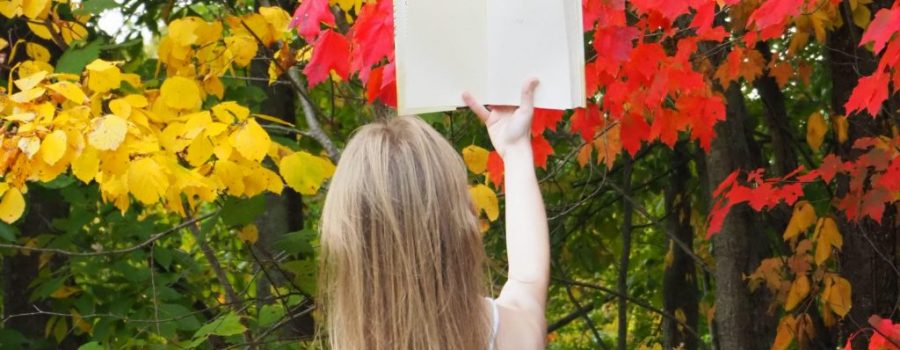 Book in front of fall leaves